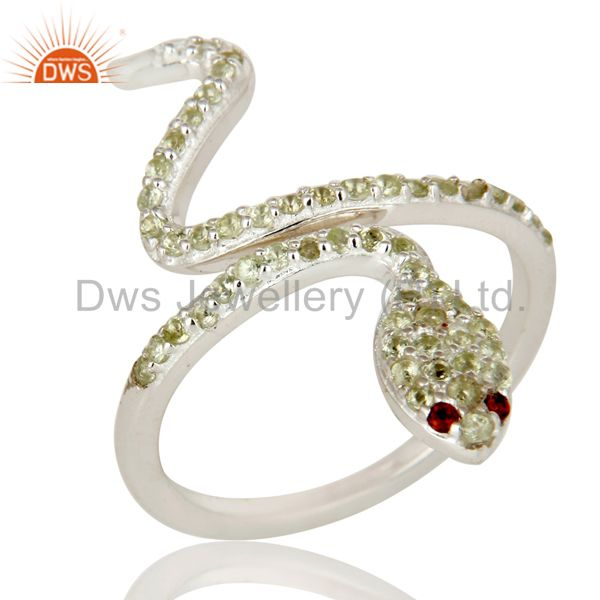 925 Sterling Silver Peridot and Garnet Snake Statement Ring