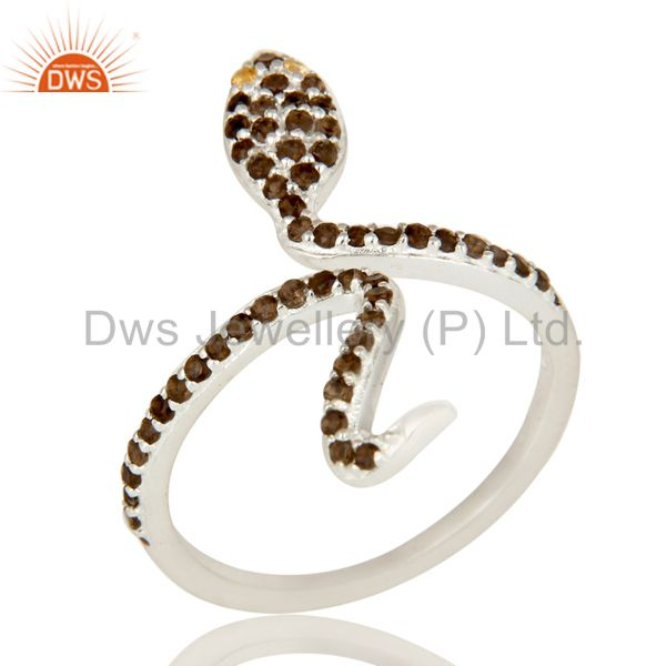 Natural Citrine And Smoky Quartz Sterling Silver Adjustable Snake Ring