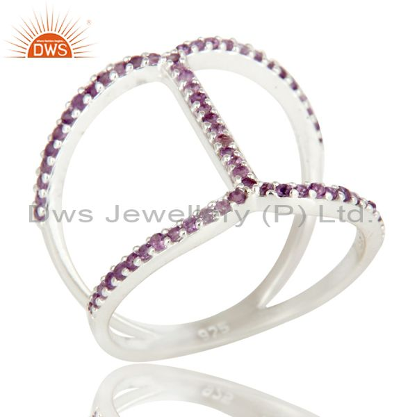 925 Sterling Silver Amethyst Gemstone Halo Style Split Shank Bar Ring
