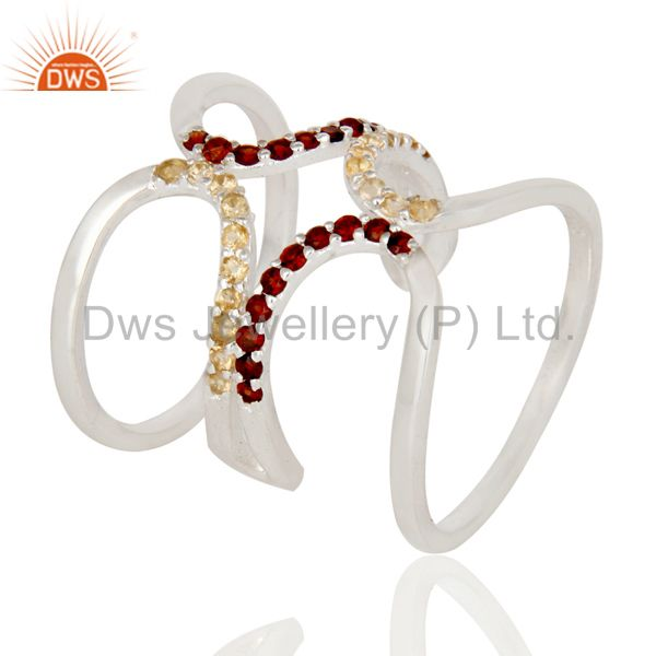 925 Sterling Silver Citrine And Garnet Gemstone Designer Knuckle Ring