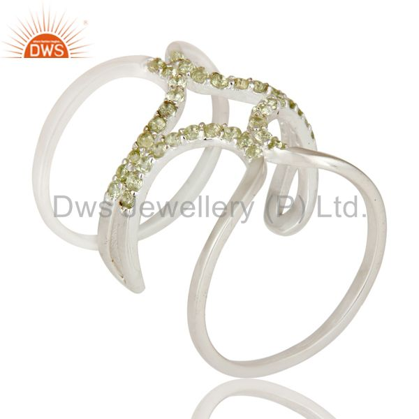 925 Sterling Silver and Peridot Gemstone Designer Knuckle Ring