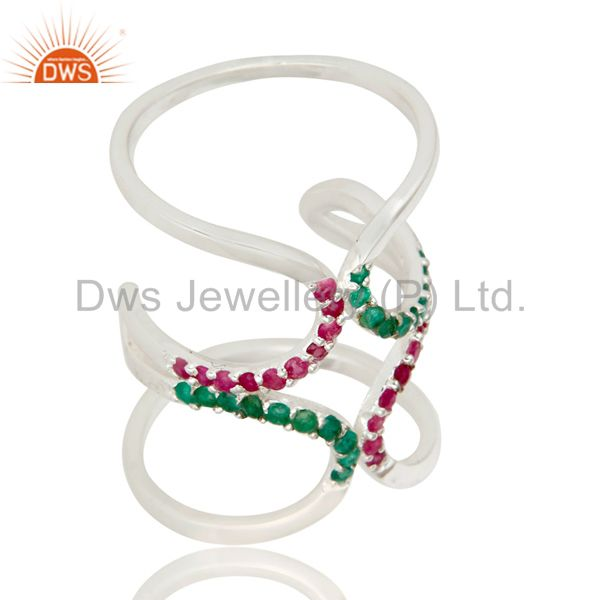 925 Sterling Silver Emerald and Ruby Birthstone Gemstone Designer Knuckle Ring