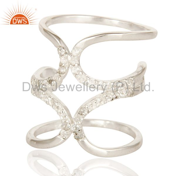 925 Sterling Silver White Topaz Gemstone Accent Womens Long Knuckle Ring