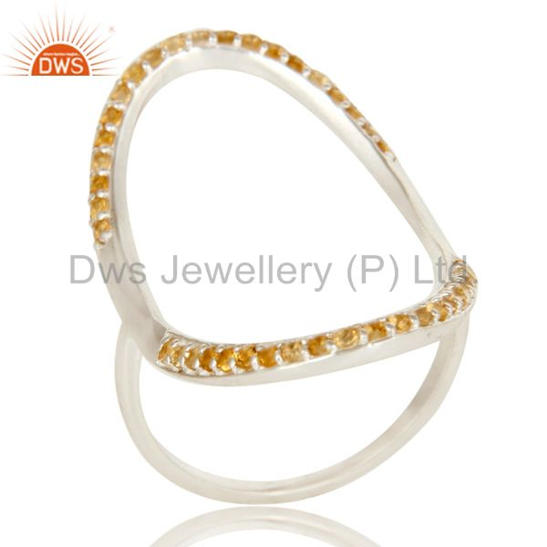 925 Sterling Silver Pave Set Citrine Gemstone Modern Infinity Ring