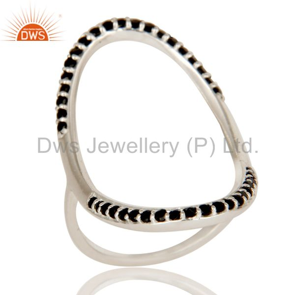 925 Sterling Silver Pave Set Black Spinel Gemstone Modern Infinity Ring