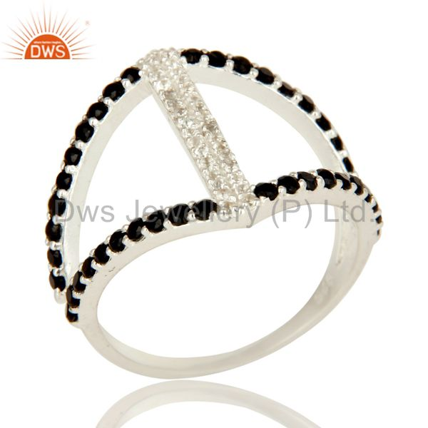 925 Sterling Silver Cutout Ring Studded With White Topaz And Black Onyx
