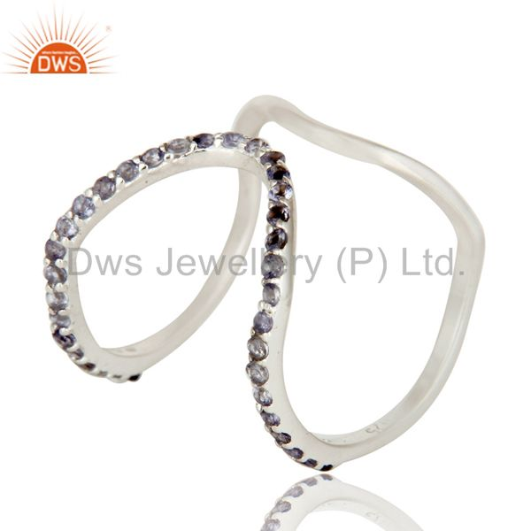 925 Sterling Silver Iolite Gemstone Designer Knuckle Ring