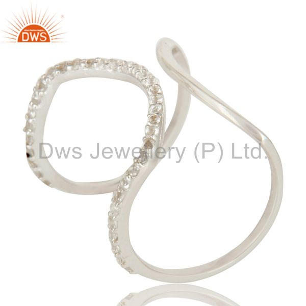 925 Sterling Silver Pave Set White Topaz Halo Style Fashion Double Knuckle Ring