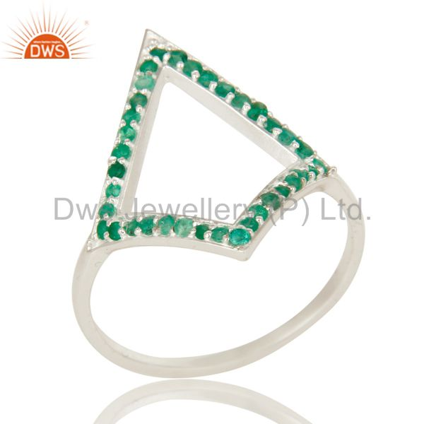 925 Sterling Silver Natural Emerald Gemstone Cluster Designer Ring