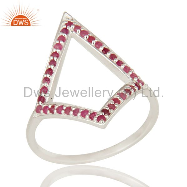 925 Sterling Silver Ruby Gemstone Cutout Ring