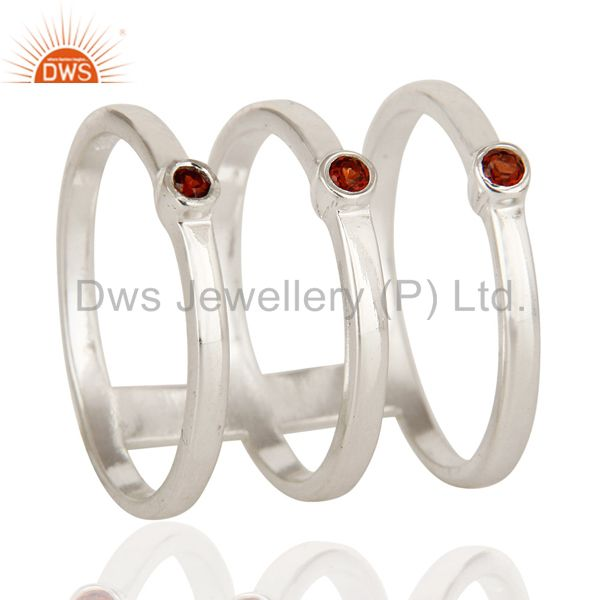 925 Sterling Silver Natural Garnet Gemstone Stackable Ring Set of 3 Pieces