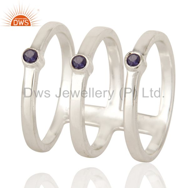 925 Sterling Silver Modern Design Tri Bar Ring With Iolite Gemstone