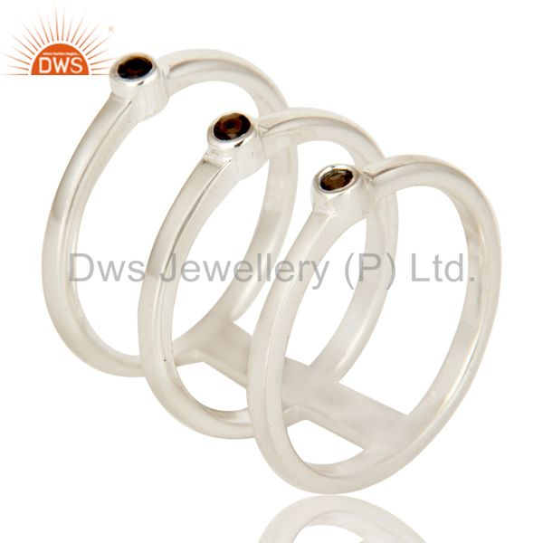 925 Sterling Silver Natural Smoky Quartz Gemstone Three Stackable Rings