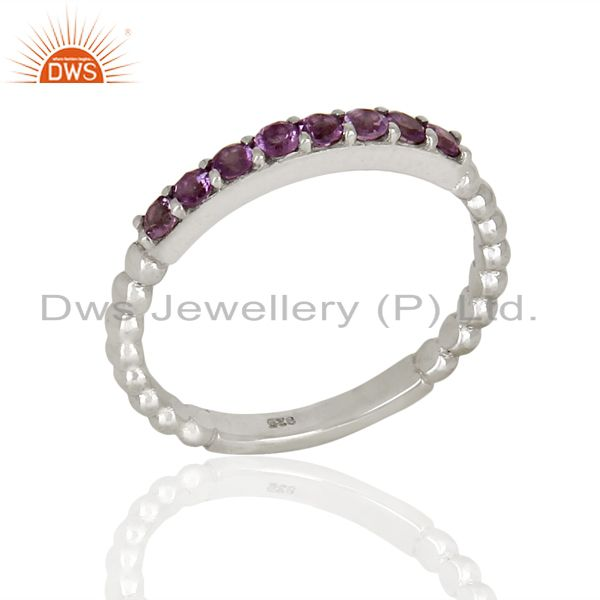Amethyst Gemstone Cluster Stacking Eternity 925 Sterling Silver Band Ring