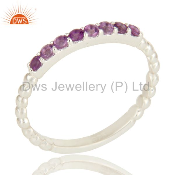925 Sterling Silver Amethyst Gemstone Cluster Stacking Eternity Band Ring
