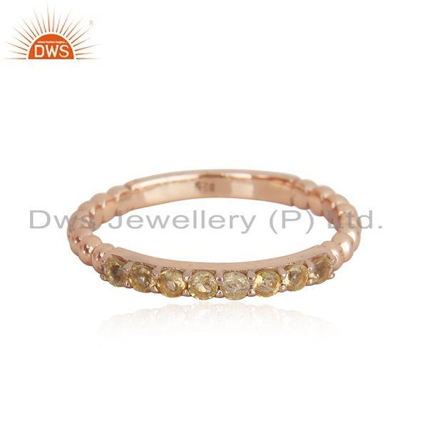 Natural Citrine Gemstone Rose Gold Plated Sterling Silver Band Rings