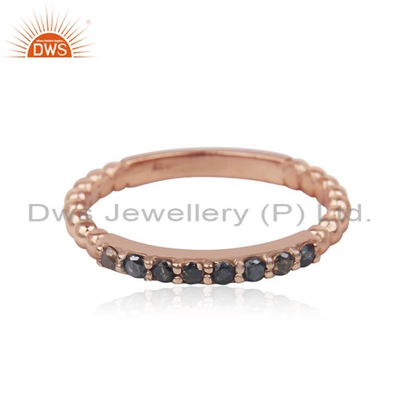 Black Diamond Stone Rose Gold Plated Silver Stackable Band Rings