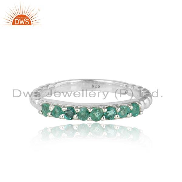 Natural emerald bead set gemstone sterling fine silver band ring