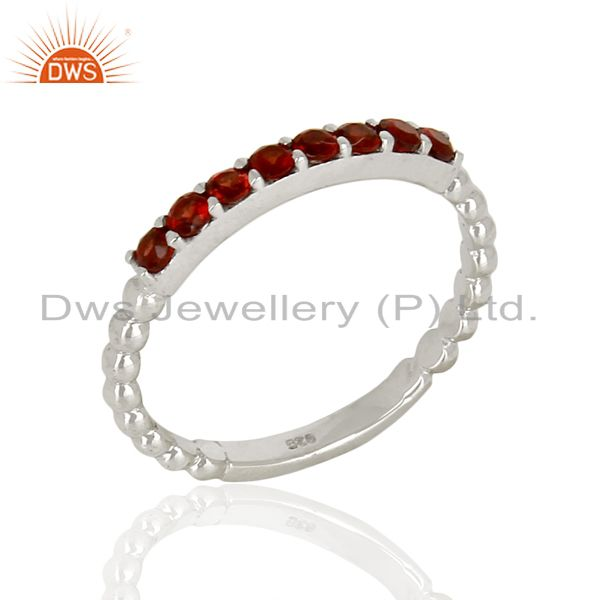 Garnet Gemstone Cluster Stacking Eternity 925 Sterling Silver Band Ring