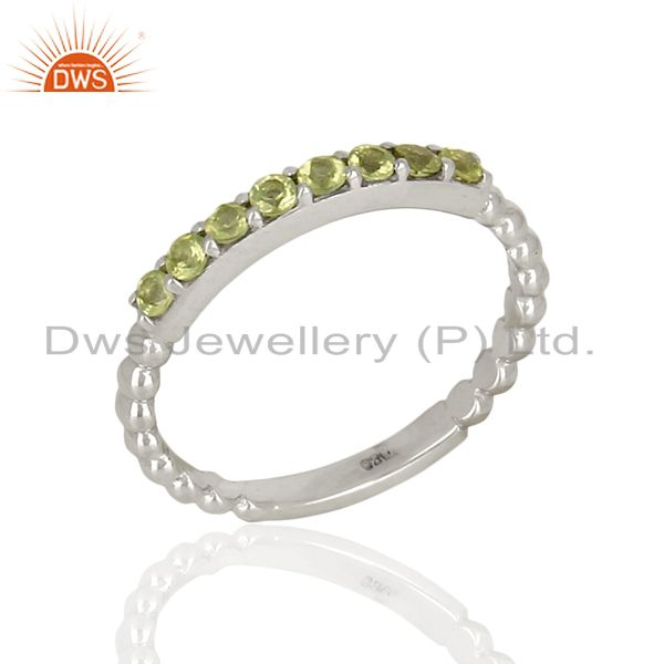 Peridot Gemstone Cluster Stacking Eternity 925 Sterling Silver Band Ring