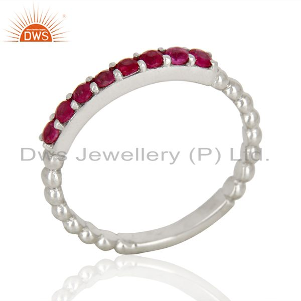 Natural Ruby Gemstone Cluster Stacking Eternity 925 Sterling Silver Band Ring