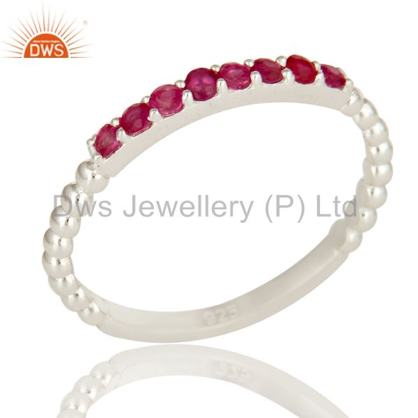 925 Sterling Silver Natural Ruby Gemstone Stack Cluster Ring