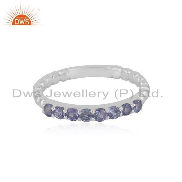 Tanzanite Gemstone Designer 925 Fine Silver Stackable Ring Jewelry