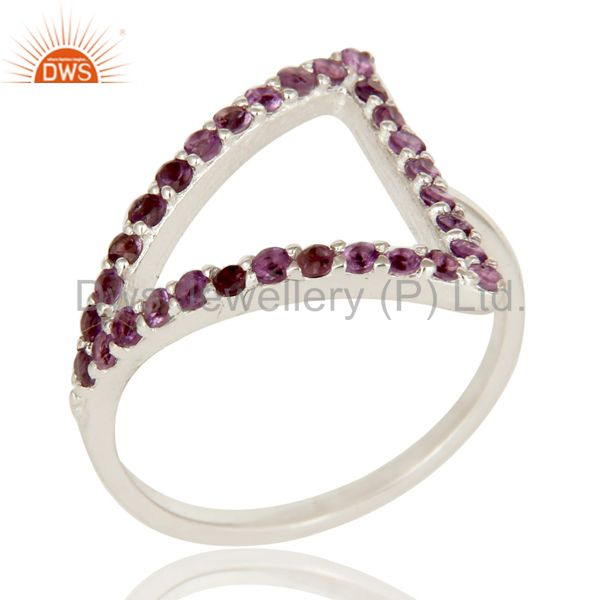 925 Sterling Silver Round Cut Amethyst Cluster Trillion Open Stack Ring