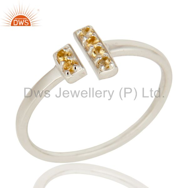 925 Sterling Silver Citrine Gemstone Adjustable Stacking Ring