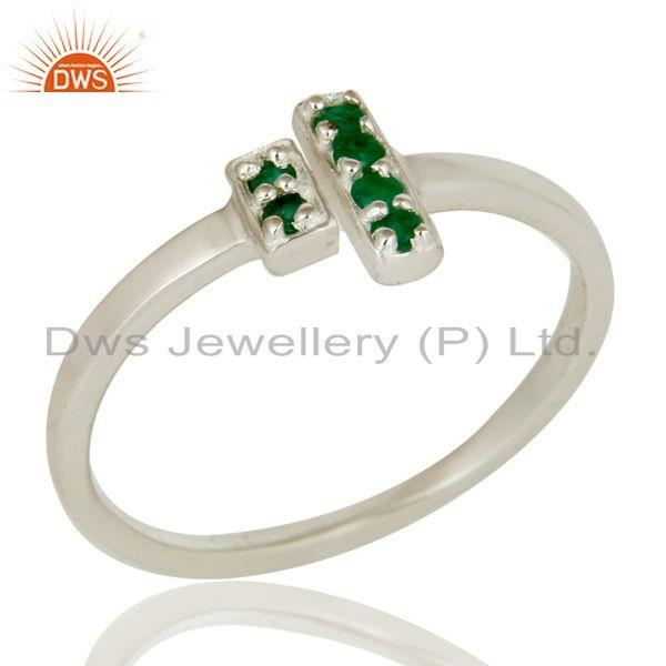 925 Sterling Silver Pave Set Emerald Gemstone Modern Design Open Bar Ring