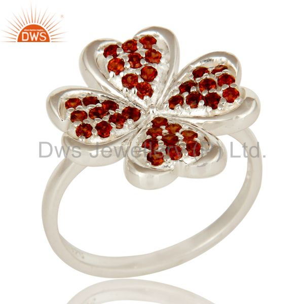 925 Sterling Silver Garnet Gemstone Cluster Heart Cocktail Ring