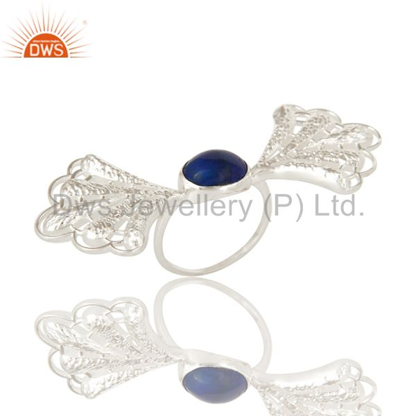 925 Sterling Silver Natural Lapis Lazuli Gemstone Designer Ring