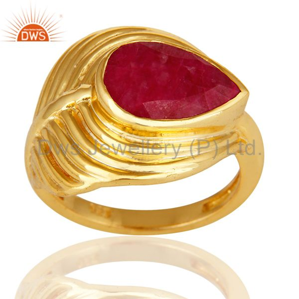 14K Gold Over Sterling Silver Dyed Ruby Red Corundum Peacock Feather Ring
