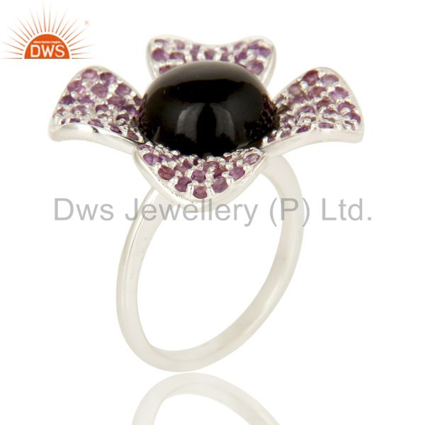925 Sterling Silver Black Onyx And Amethyst Gemstone Flower Cocktail Ring