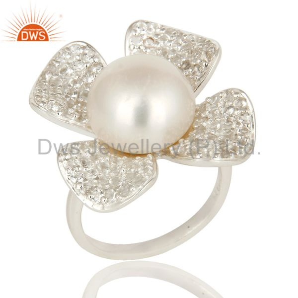 925 Sterling Silver Natural Pearl Flower Cocktail Fashion Ring With White Topaz