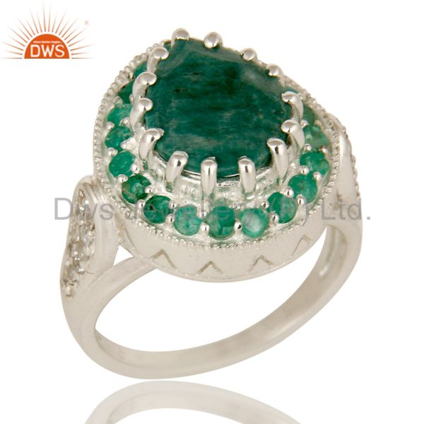 Emerald And White Topaz Sterling Silver Gemstone Designer Ring Jewelry