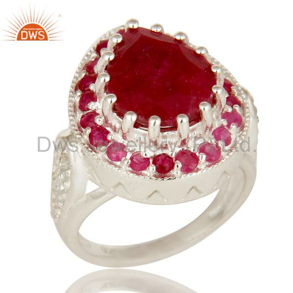 925 Sterling Silver Red Corundum And White Topaz Gemstone Statement Ring