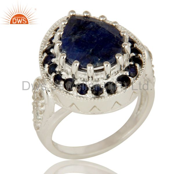 925 Sterling Silver Blue Corundum And White Topaz Gemstone Statement Ring