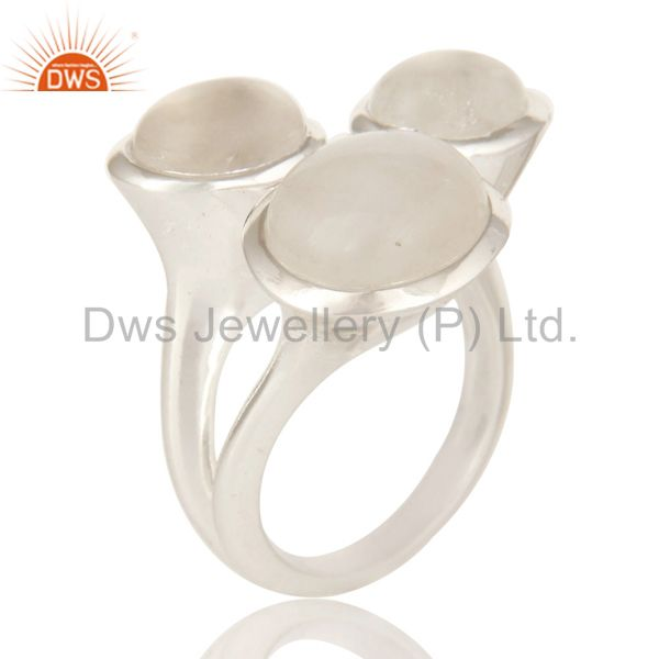 Solid Sterling Silver Natural Rainbow Moonstone Designer Cocktail Ring