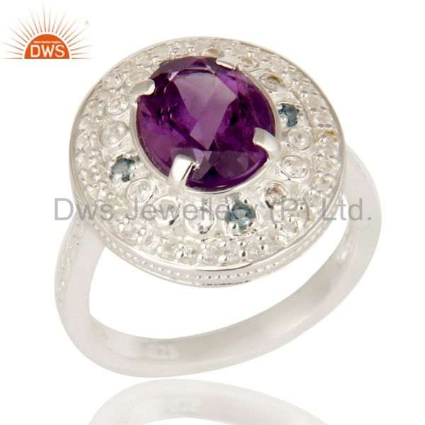 925 Sterling Silver Amethyst And Blue Topaz Statement Ring With White Topaz