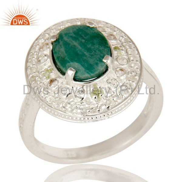 Green Corundum And Peridot Sterling Silver Statement Ring With White Topaz