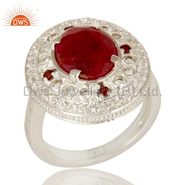 Ruby Red Corundum, Garnet And White Topaz Sterling Silver Cocktail Ring