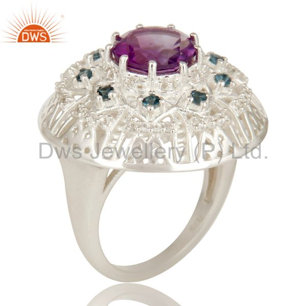 925 Sterling Silver Amethyst, Blue Topaz And White Topaz Designer Cocktail Ring