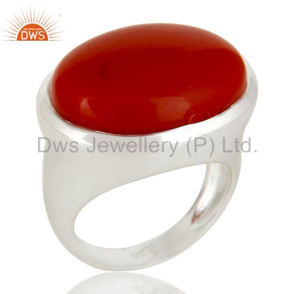High Polished Sterling Silver Red Coral Gemstone Designer Dome Ring