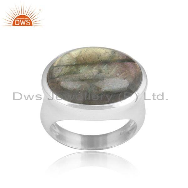Labradorite Cabushion Mounted Sterling Silver White Ring