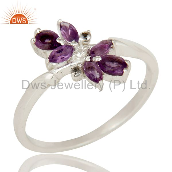 Amethyst and White Topaz Solid Sterling Silver Statement Ring Gemstone Ring