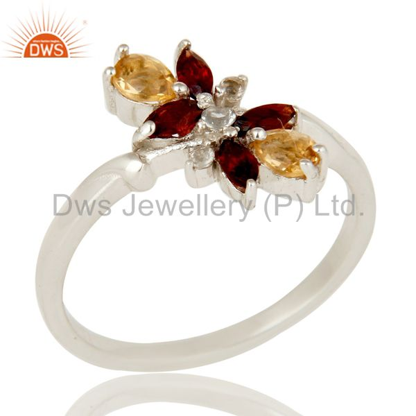 Citrine Garnet and White Topaz Gemstone Solid Sterling Silver Statement Ring