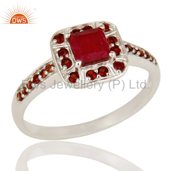 925 Sterling Silver Ruby Natural Corundum and Garnet Gemstone Halo Style Ring