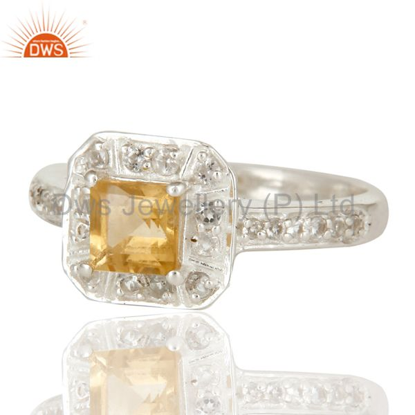 925 Sterling Silver Citrine And White Topaz Gemstone Halo Style Ring