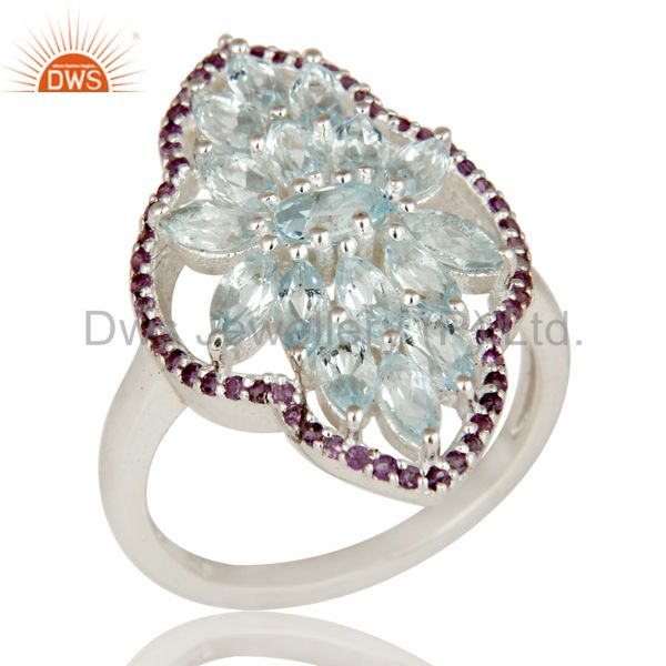 925 Sterling Silver Amethyst and Blue Topaz Gemstone Statement Ring
